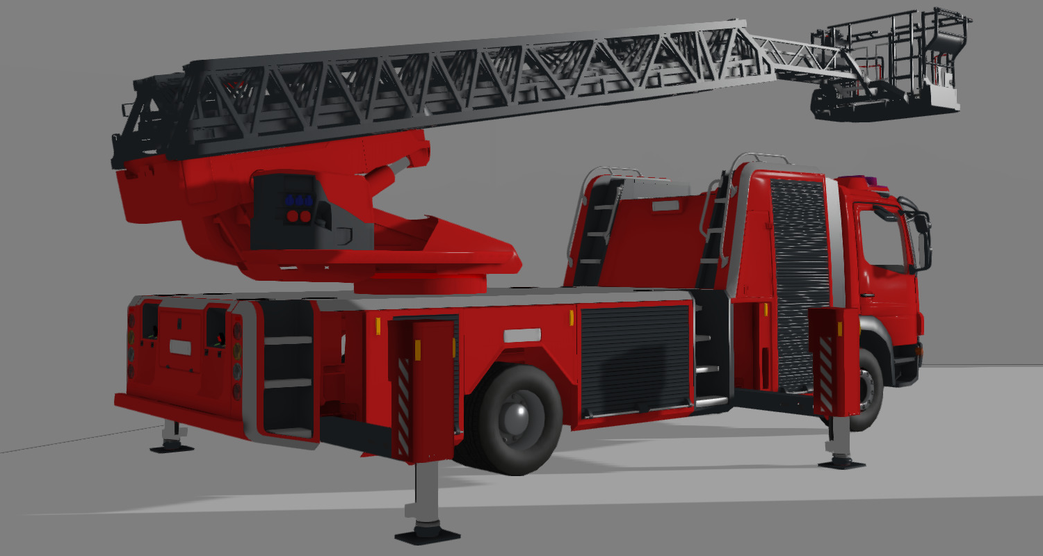 The High-quality 3D model of the Rosenbauer-XS Aerial Ladder used in our virtual reality training simulator.