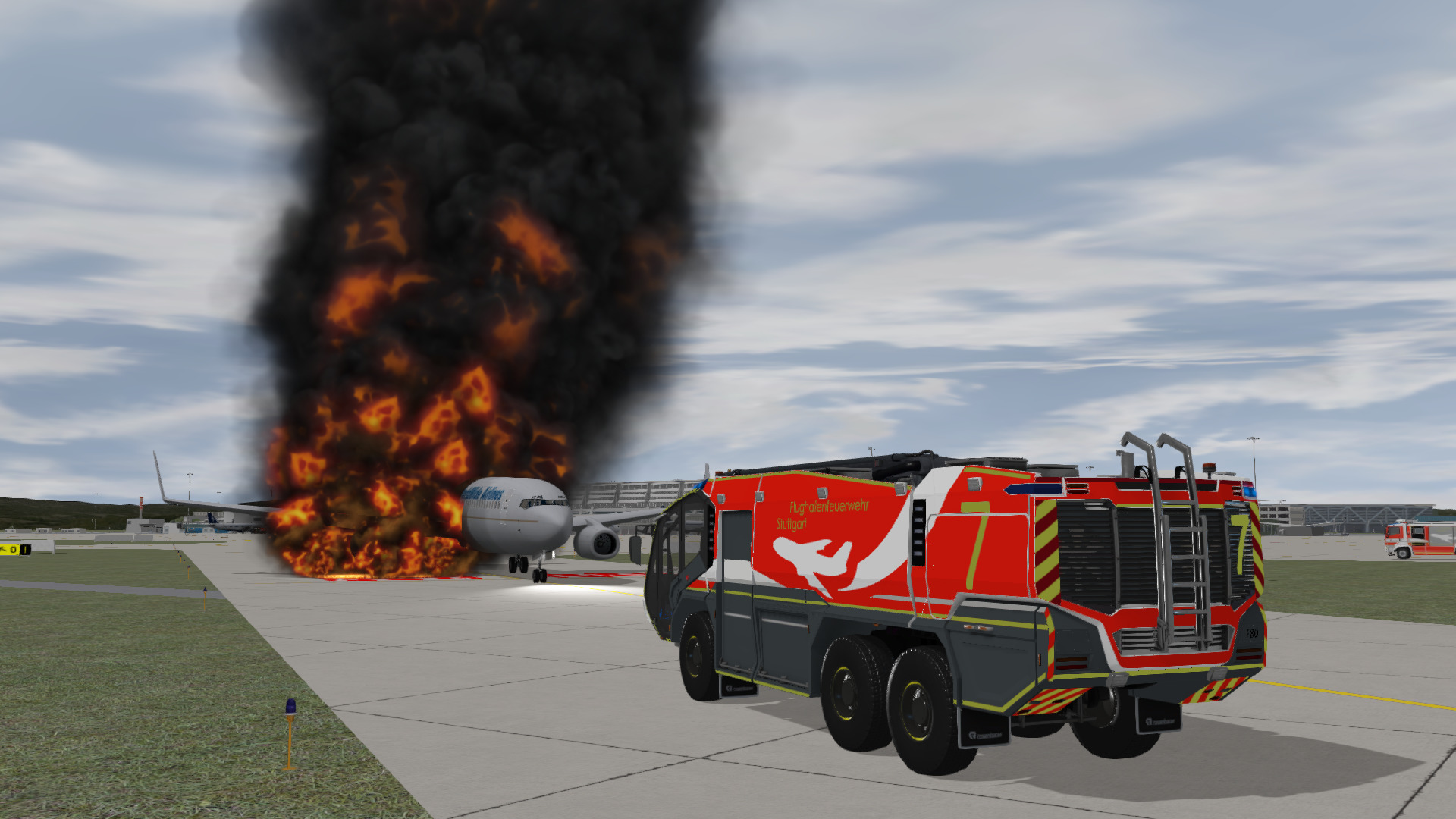 Rosenbauer Panther ARFF Truck responding to a massive fuel fire underneath a 737, inside the training system.