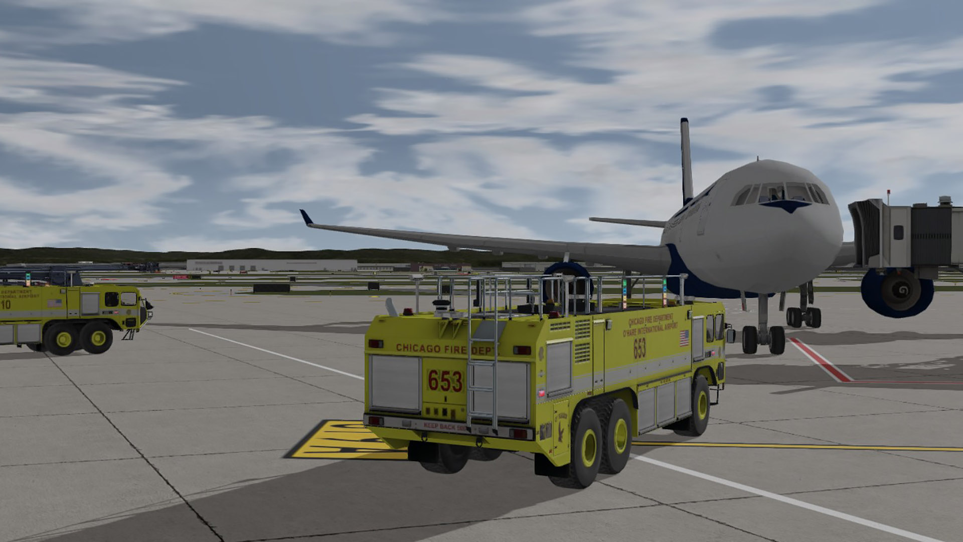 Oshkosh Striker ARFF Truck responding to an emergency at a gate with passengers ready to evacuate.