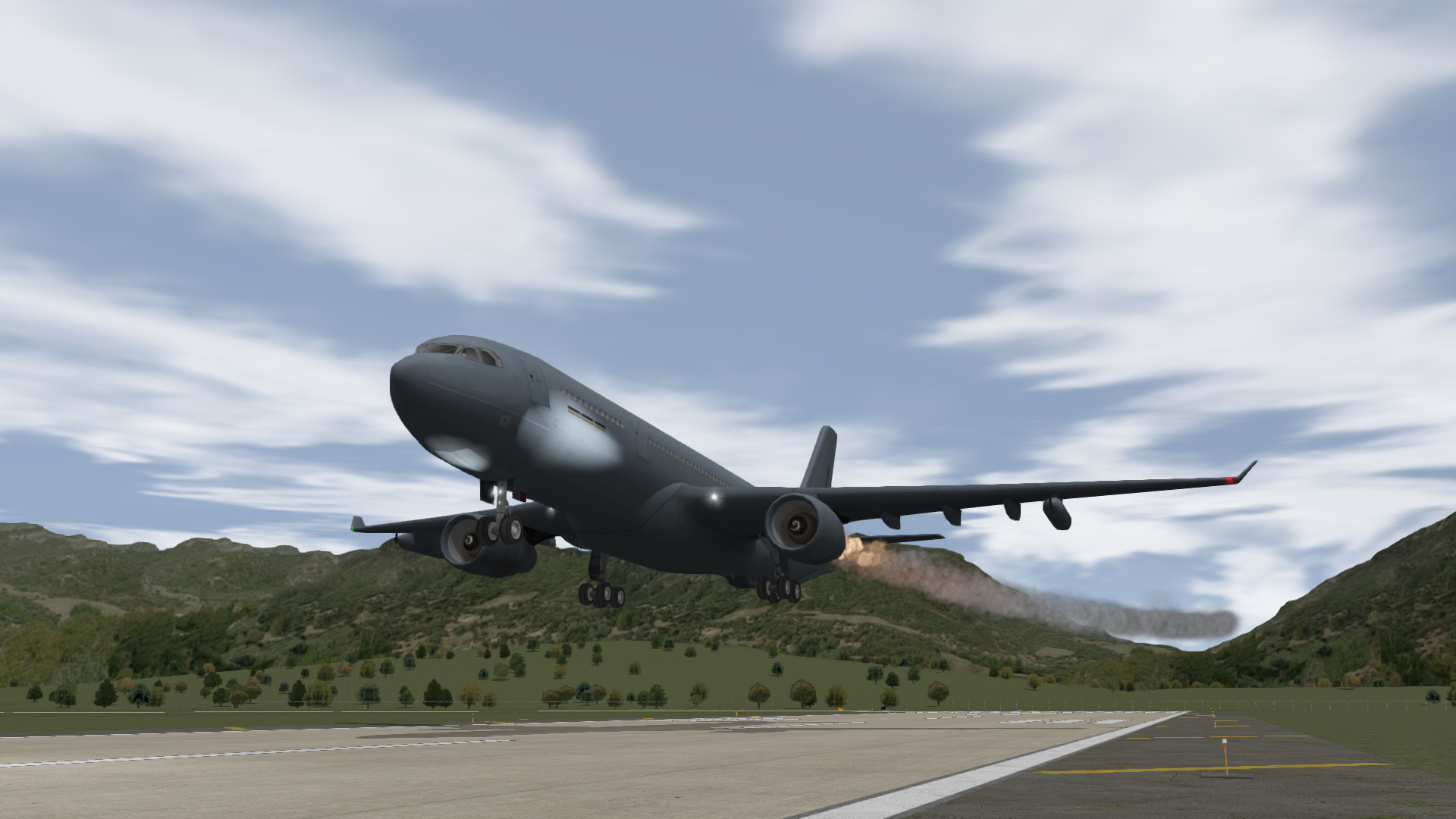 A-330 Emergency landing at an airbase with left engine fire.