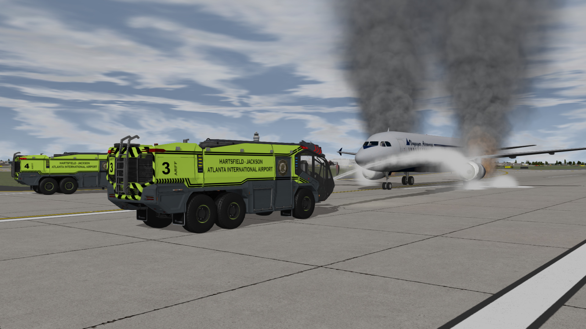 Two Rosenbauer Panther ARFF Trucks responding to a double engine fire on the runway inside our training system.