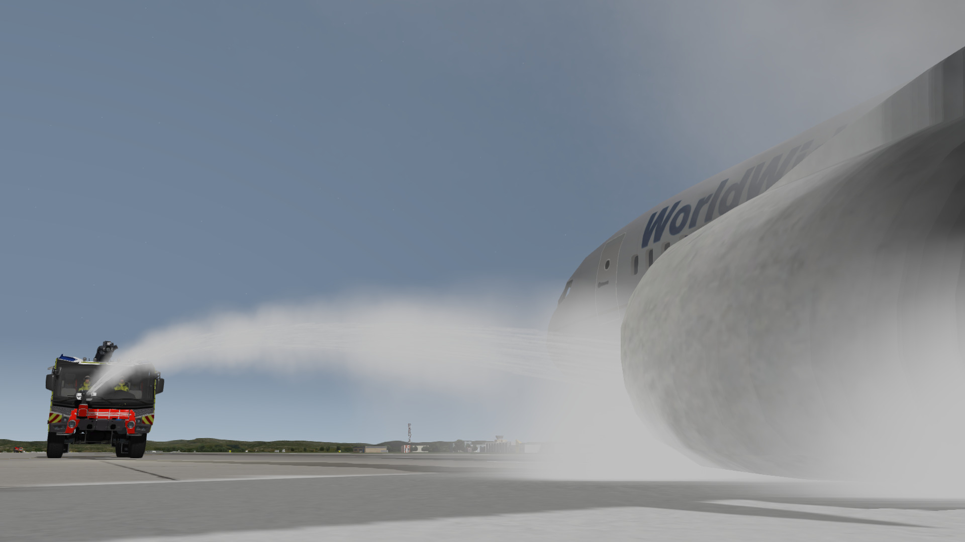 Rosenbauer Panther ARFF Truck fighting engine fire from a crashed aircraft using foam, inside the Training Simulator.