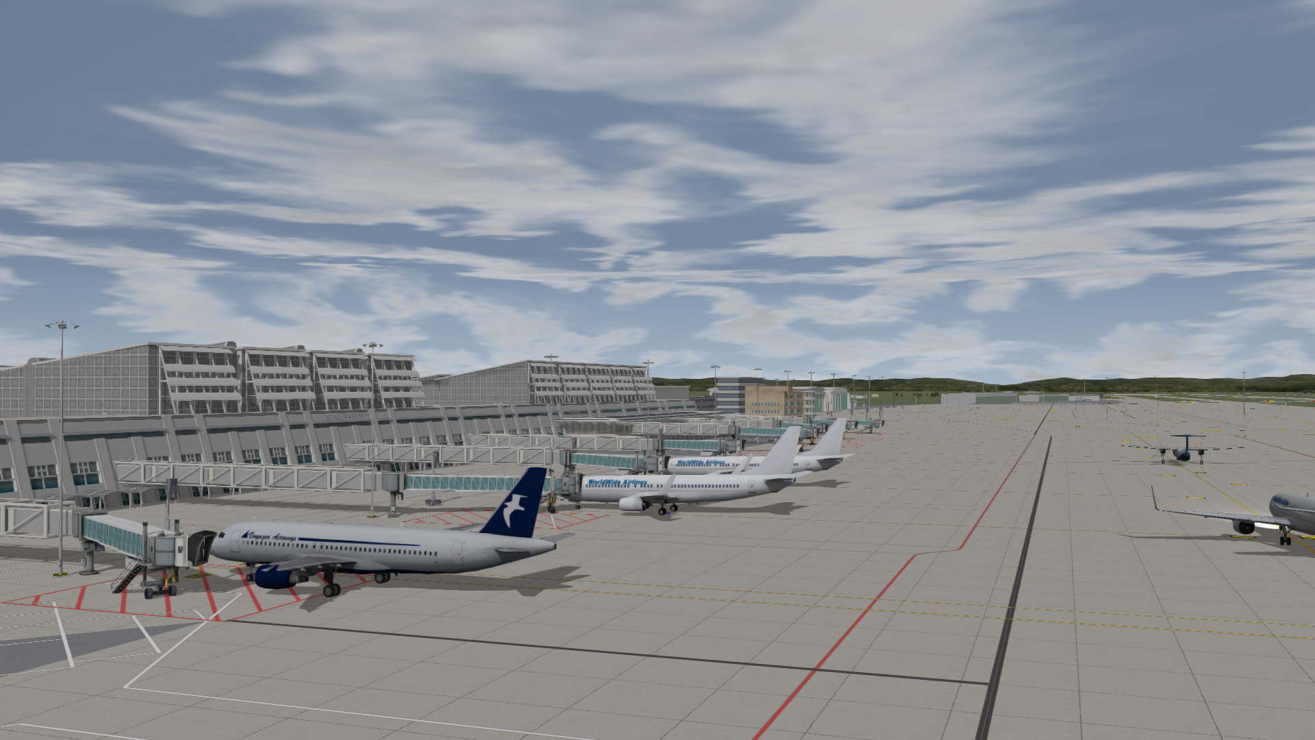 Active aircraft movement at Stuttgart Airport in our virtual reality training system where incidents can be build everywhere.