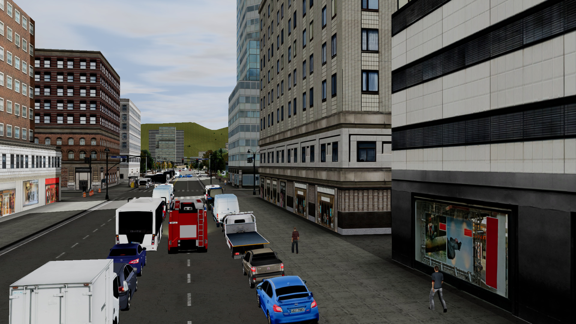 Emergency Response Driving Trainee splitting traffic in the city on its way to a call in our ERDS Simulator.