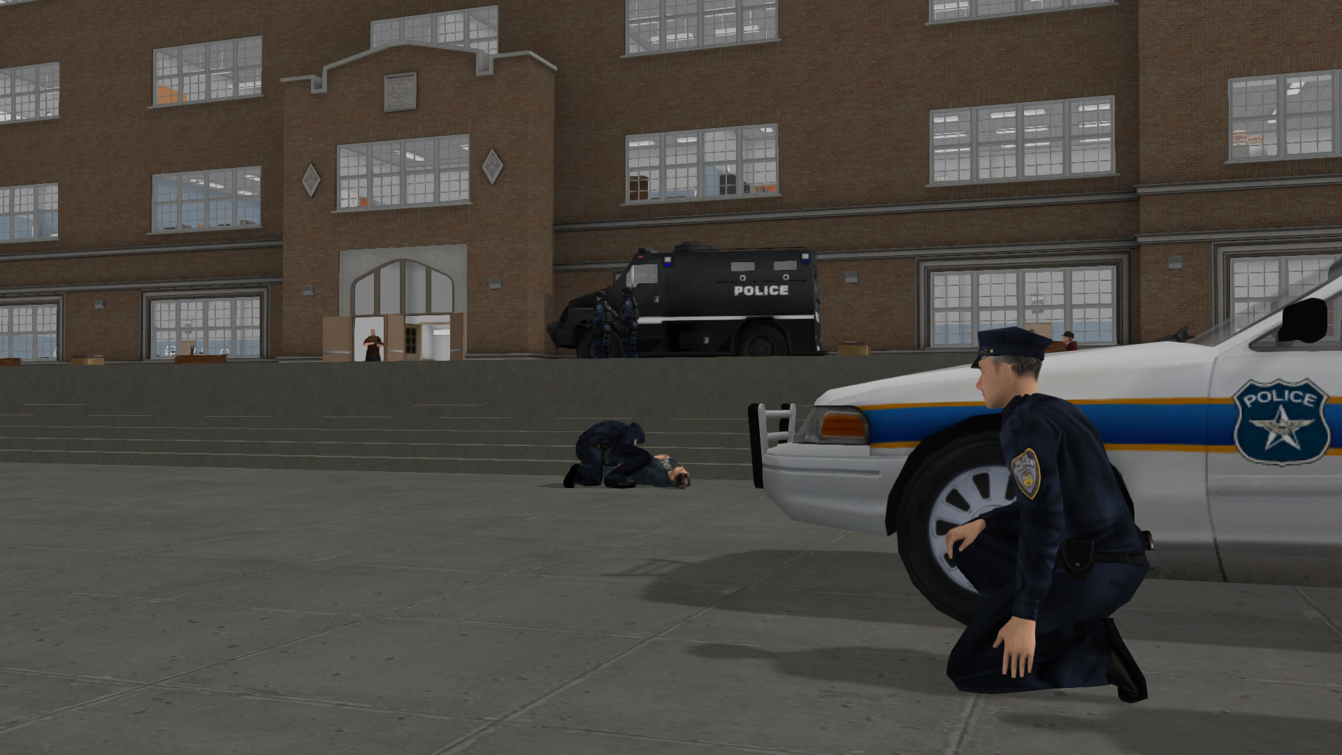 Police officers taking cover from an active shooter at a school, trained in a safe and repeatable simulated environment.