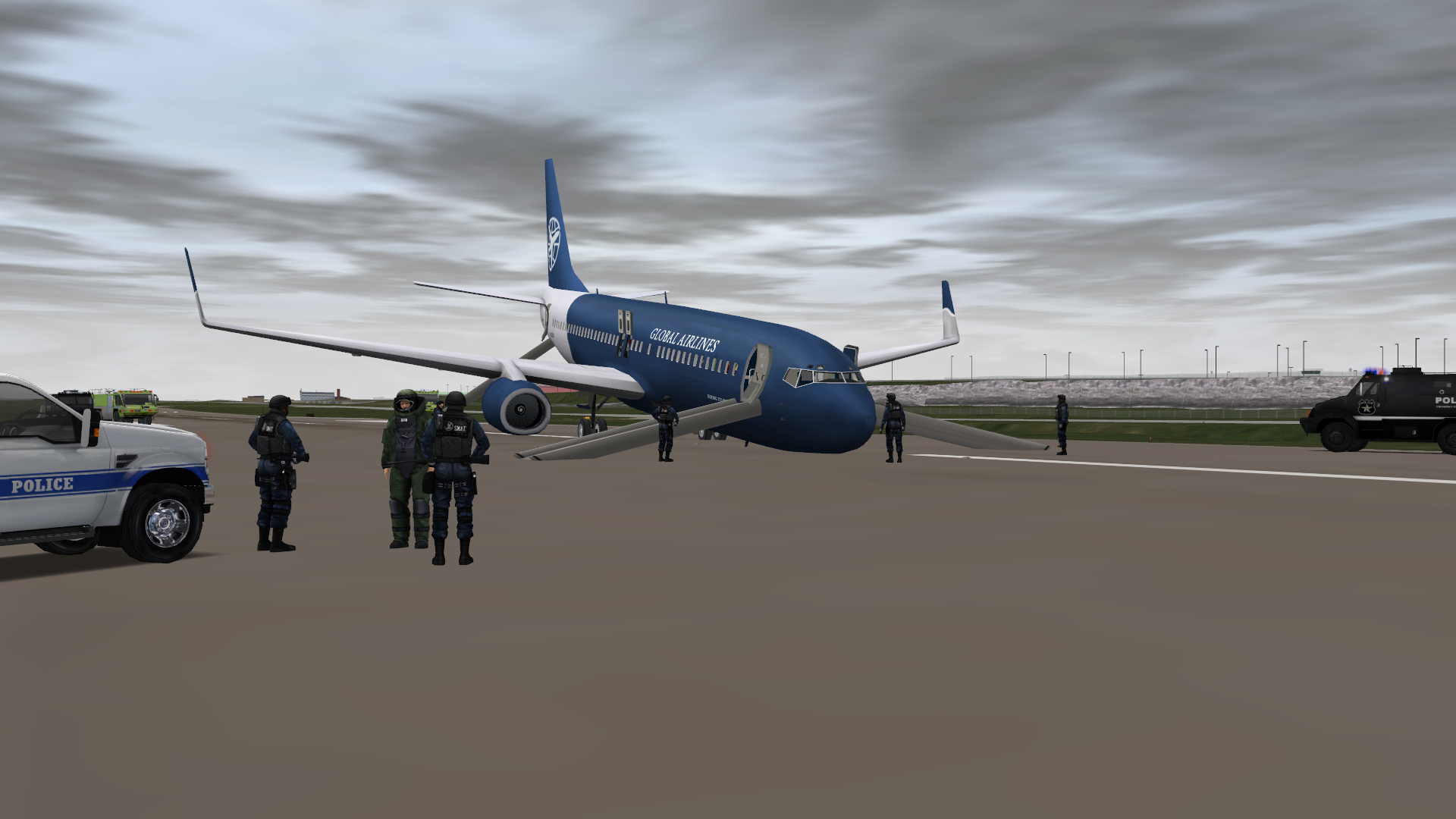 Special forces surrounding a hijacked plane that crash-landed at the airport, creative scenario built with ADMS.