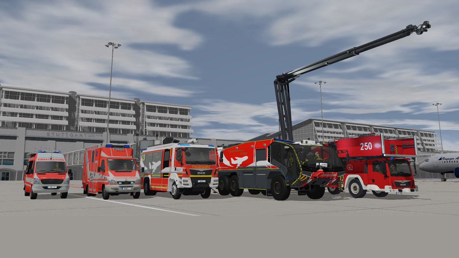 The fleet of Stuttgart Airport Vehicles that are used in ADMS to train familiarization, driving procedures, and ARFF response.