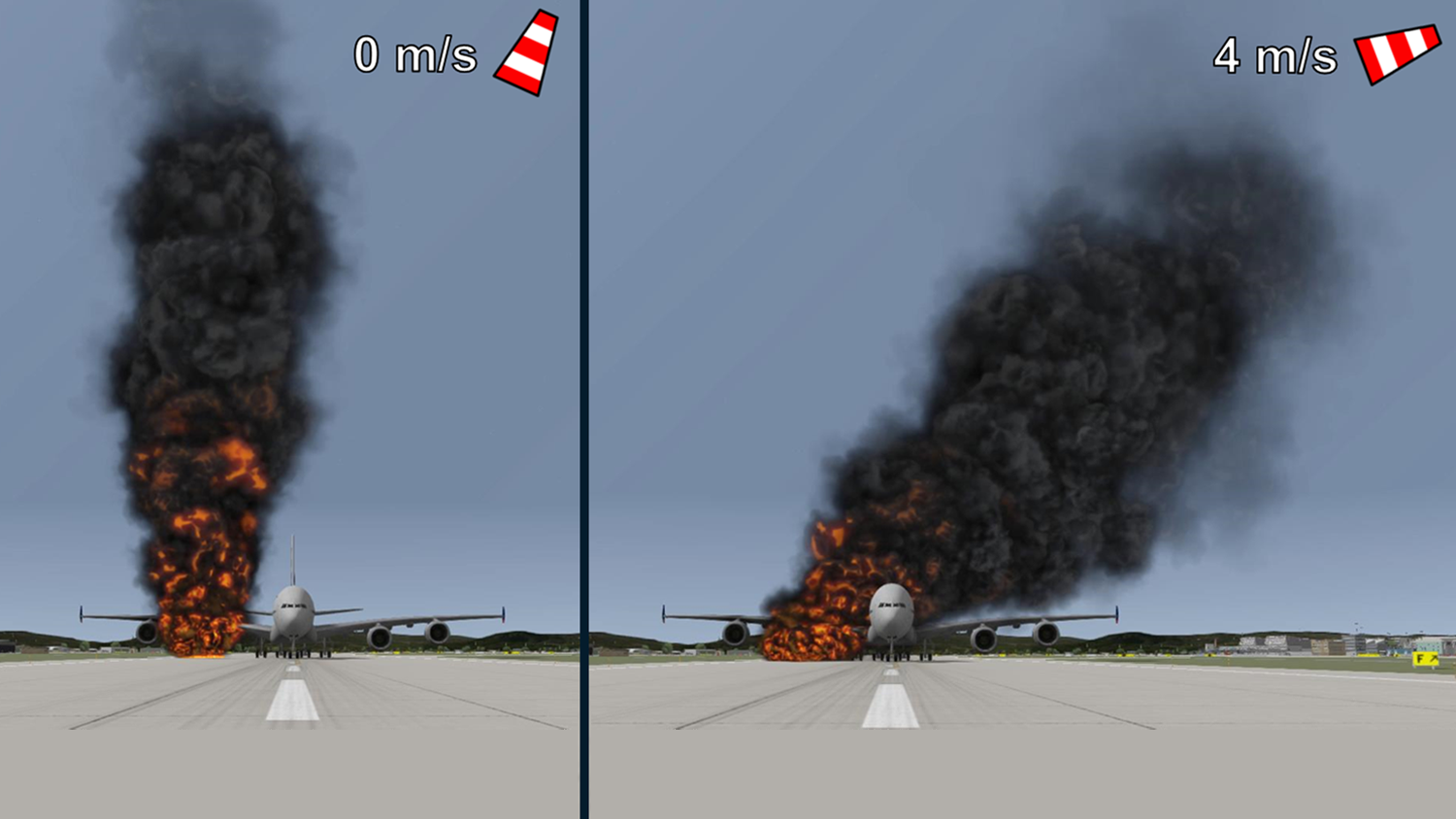 Wind speed and direction changes affecting fire and smoke in the virtual environment calculated by ADMS software.