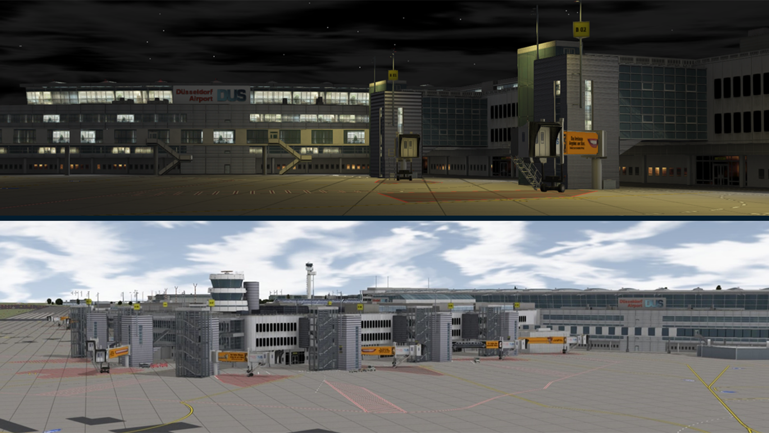 Day and night time at Dusseldorf Airport in the simulated training environment for ARFF and airport workers.